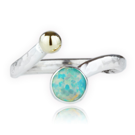 Silver and Gold Green Opal Adjustable Ring | Image 1