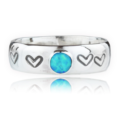 Sterling Silver Opal Heart Ring | Image 1