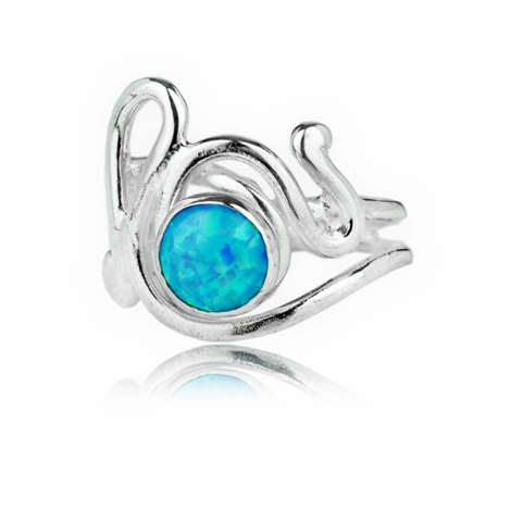 Handmade Sterling Silver and Blue Opal Ring | Image 1