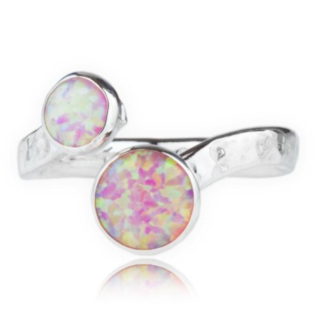 Handmade Hammered Silver Pink Opal Torq Ring | Image 1