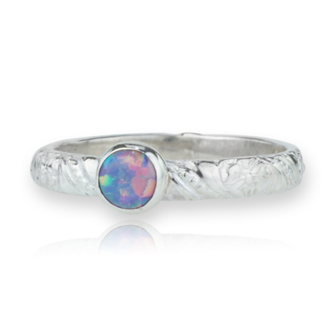 Sterling Silver Flower Opal Ring | Image 1