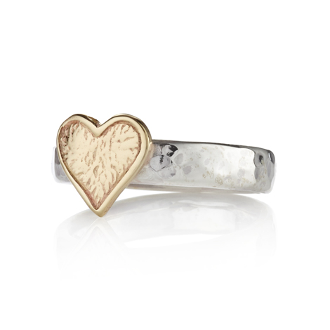 Silver and Gold Heart Ring | Image 1