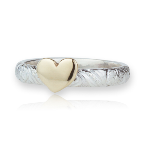 Handmade Silver and Gold Heart Ring | Image 1