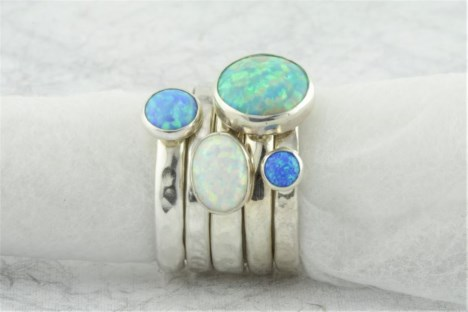 opal silver rings sets | Image 1