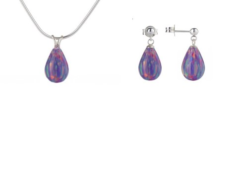Purple Teardrop Opal Pendant & Earring Gift Set.  | Image 1