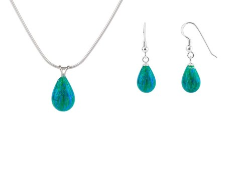 Forest Green Teardrop Opal Pendant & Earring Gift Set. Save £15 | Image 1