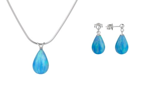 Blue Teardrop Opal Pendant & Earring Gift Set. Save £15 | Image 1