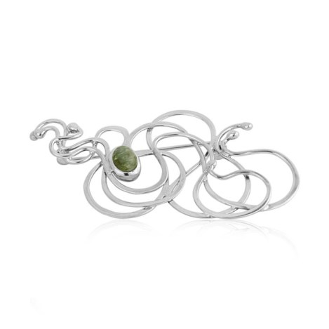 Silver Stick Pin Brooch With Green Tourmaline | Image 1