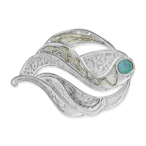 Gold & silver brooch with blue australian opal | Image 1
