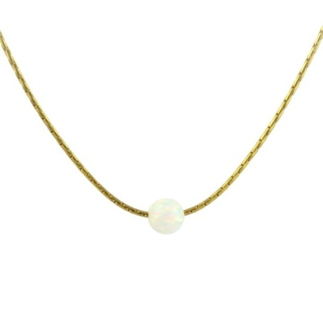 gold necklace with white opal | Image 1