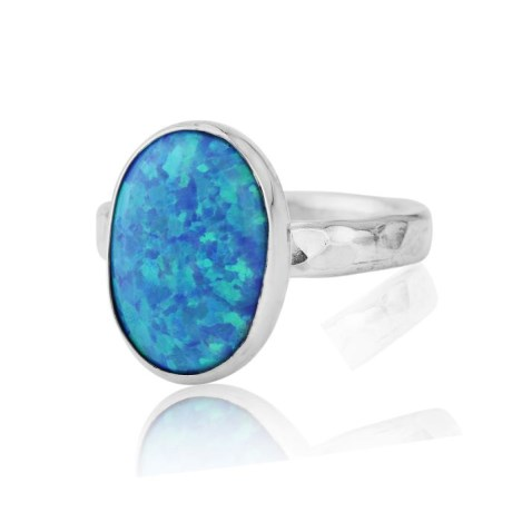 Silver Hammered Blue Opal Ring | Image 1