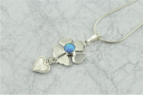 Blue Opal and Silver Pendant | Image 1
