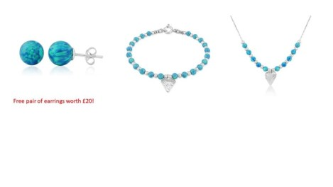 Silver Heart and Aqua Opal Bracelet and Necklace Set sale price £189 | Image 1