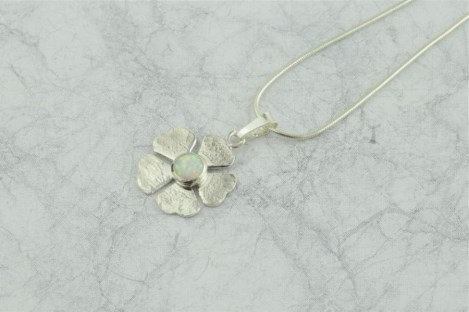 Silver and White Opal Flower Pendant | Image 1